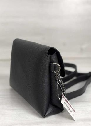 Черная маленькая сумка клатч через плечо кроссбоди матовая на защелке2 фото