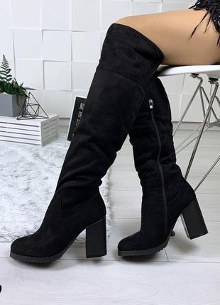 Ботфорты зимние на невысоком устойчивом каблуке. размеры с 36 по 40