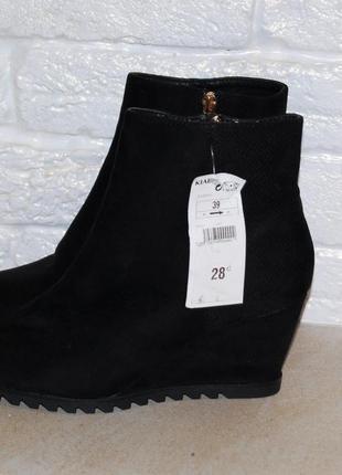 Ботинки черные осенние на байке 38-39 р-р