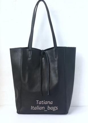 Итальянская кожаная сумка шоппер по суперцене. черная.