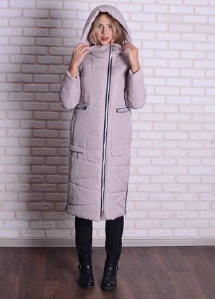 Скидка зимняя длинная куртка 46-56р серая, бежевая