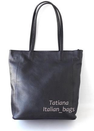 Классная кожаная сумка шоппер с застежкой, черная. италия