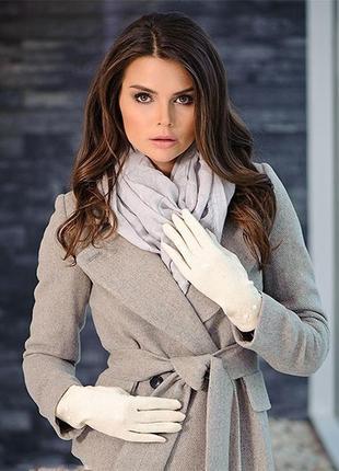 Теплые мягкие белые перчатки эко-кожа