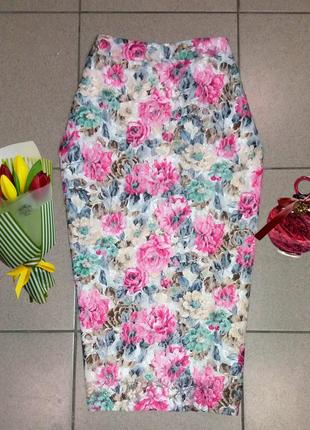 Бесподобная ажурная юбка миди в цветы select размер 14