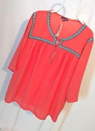 Акция!!! -50% на вторую вещь !!!  коралловая блуза с орнаментом большой размер 22