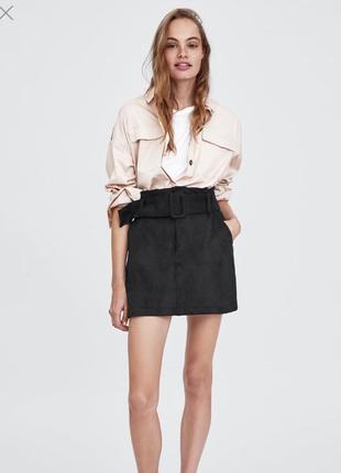 Замшевая юбка размерыесть с ремнём с поясом высокая талия высокая посадка zara