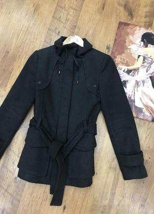 Серое кашемровое пальто zara