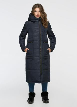 Скидка зимняя длинная куртка 44-56р синяя милитари