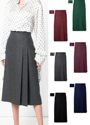 Элегантная прямая юбка миди с боковыми складками, осень-зима, джерси люкс, р-р xs-xxl
