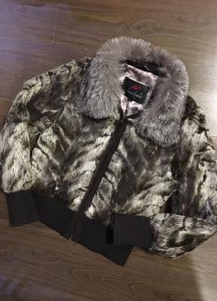 Меховая куртка-шубка, натуральный мех кролика, шуба зимняя теплая, курточка авто-леди