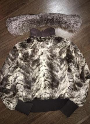 Меховая куртка-шубка, натуральный мех кролика, шуба зимняя теплая, курточка авто-леди2