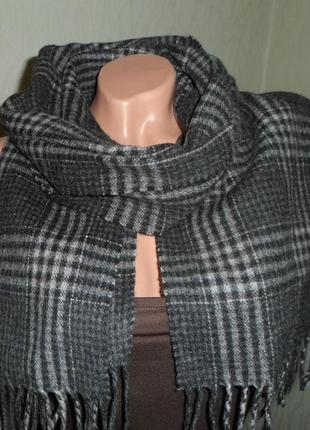 Теплый шарф в классическую клетку 160х31см