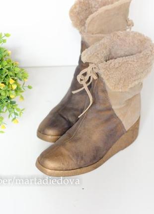 Кожаные замшевые ботинки на меху, натуральная кожа