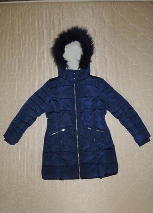 Фирменное зимнее теплое пальто пуховик marks&spencer р.134-140