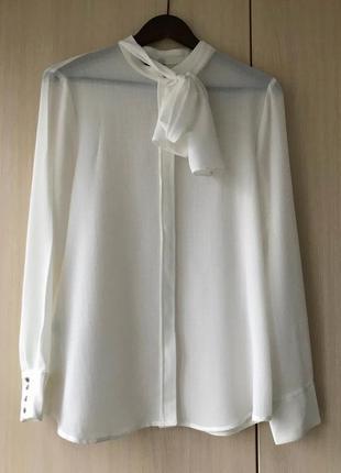 Белая блуза-рубашка с бантом mango suit, m, l