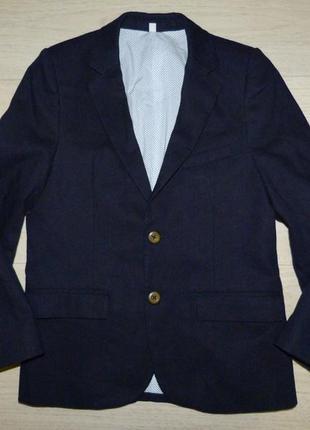 Стильный темно-синий пиджак m&s 8-9 лет