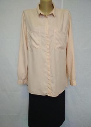 Стильная блузка,рубашка,пудровый цвет,карманы,рукав с отворотом zara