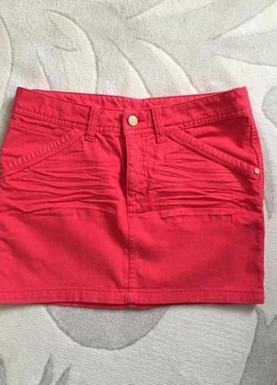 Джинсовая яркая мини юбка юбочка