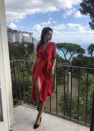 Эксклюзивное женственное красное платье миди запах кружево разрез пояс