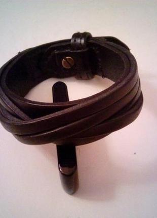 Стильный мужской браслет, коричневый