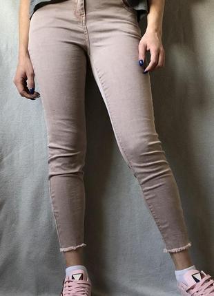 Классные джинсы скини с бахромой грязно розового цвета❤️❤️❤️