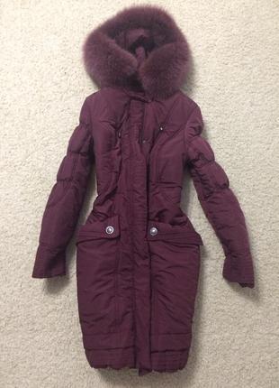 Куртка, пуховик, пальто, зима натуральный мех песец
