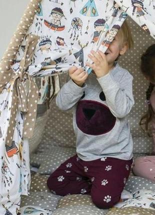Милая мягкая детская пижама домашний комплект одежда для дома с принтом цвета р.92-110