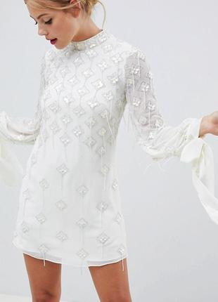 Великолепное платье с бисером и бусами asos,р-р 10