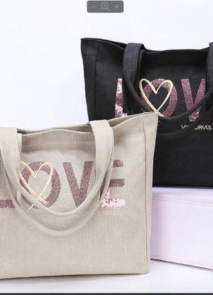 Пляжная сумка с розовыми пойетками victorias secret