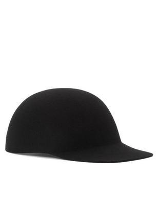 Cos шапка кепка женская зимняя бейсболка шерстяная 100% шерсть черная размер xs/s