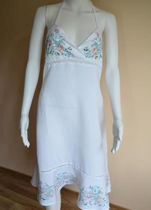 Распродажа 12 - 18.11.18 ! льняное платье (лен и вискоза) с вышивкой papaya