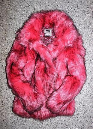 Гламурная шубка шуба некст 13-14лет теплая зима розовая