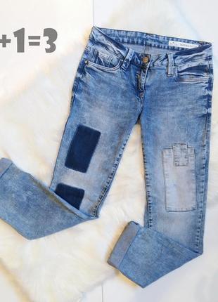 Blue motion стильные джинсы s прямые бойфренды потертости латки тренд как zara asos