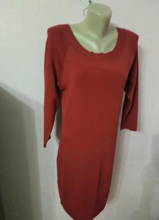 Осеннее женское платье с длинным рукавом красного цвета бренда studio m