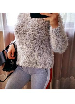 Теплый пушистый объемный свитер травка h&m оверсайз бойфренд кофта кардиган s-m-l