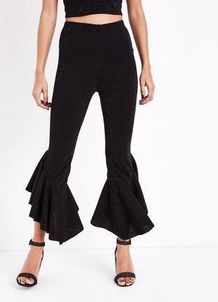 -35% на все! актуальные нарядные брюки с люрексом и оборками, штаны стильные зауженные