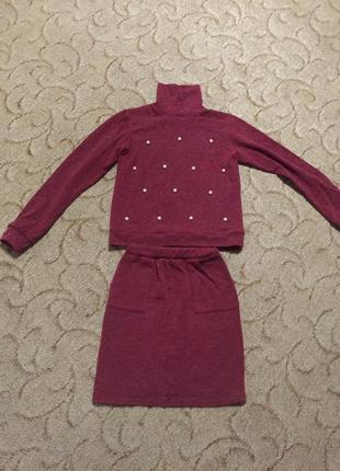 Костюм теплый бордо,бордовый,марсала с жемчугом,бусинками юбка и гольф