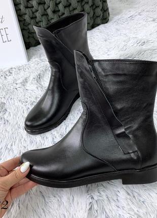 Кожаные зимние сапоги ботинки с молнией сбоку. 36-40