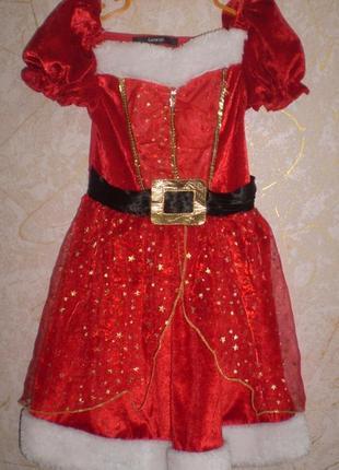 Карнавальное платье помощницы санты 3-4г.  98-104