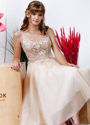 Выпускное вечернее свадебное миди платье марии мельник