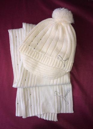 Шапка+шарфик комплект, шерсть