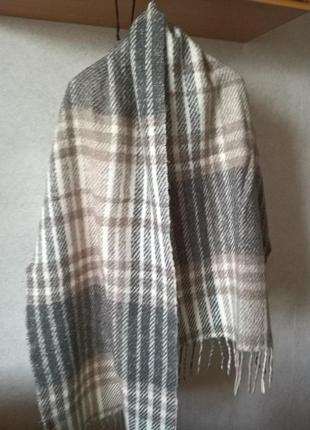 Шерстяний шарф-плєд