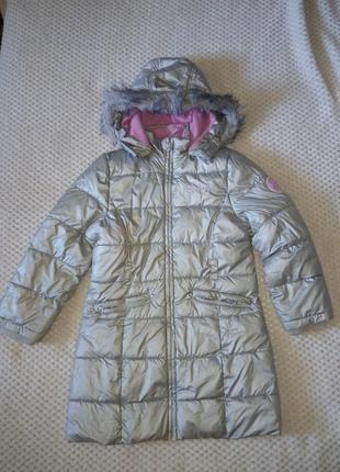Серебристое теплое пальто пуховик c&а palomino 122