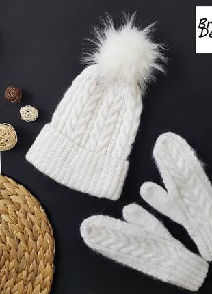 Белая шапка меринос мохер от bregoli design