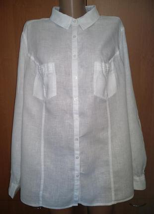 Крутая льняная рубашка лён 58-60 размер