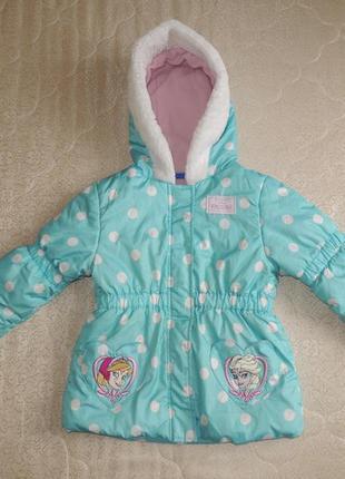 Фирменная демисезонная куртка пальто frozen disney ледяное сердце р.98-104