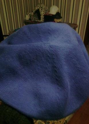 Синий тонкий, акриловый берет