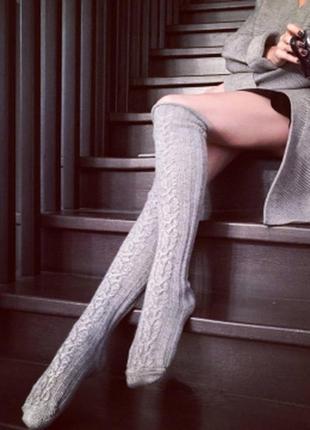 Серые гольфы заколенки в орнамент с отворотом носки чулки длинные гольфи гетри
