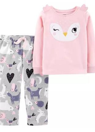 Піжамка піжама флісова для дівчаток пижама пижамка флис carter's картерс 24м