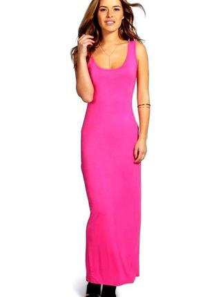 Новое розовое трикотажное длинное платье сарафан борцовка макси от glamour babe